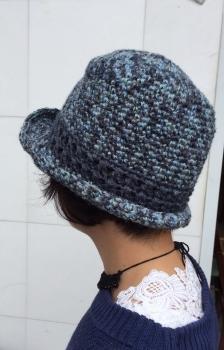 ジュートの中折れ帽青