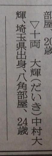 20160927・大相撲秋場所12・十両優勝・大輝