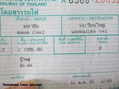 バンコク-マハチャイ間のSRT(タイ国鉄)無料キップ