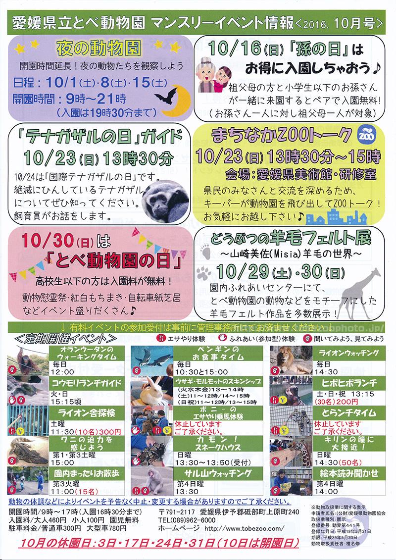 愛媛県立とべ動物園 マンスリーイベント情報 2016.10月号 (イベント案内のパンフレット)