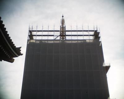 工事中の五重塔・浅草寺:R2