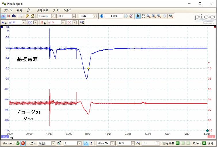 RASTAR乗用自動車ラジコン(電源・デコーダ不良)波形1