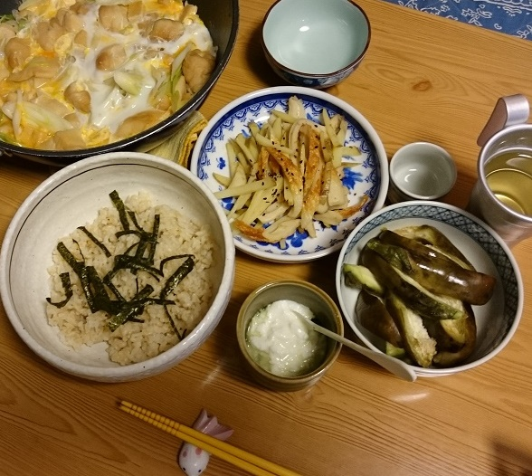 白ネギと麩の卵とじ丼定食+アルミカップ