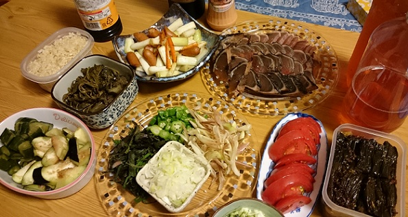 きゅうり佃煮・モロヘイヤ煮物・ネギ炒め