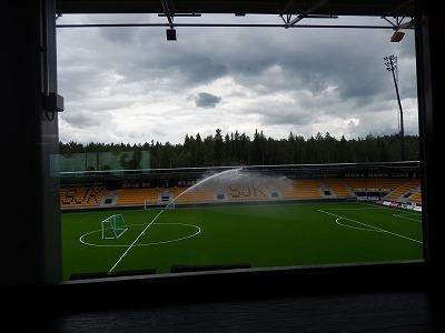 スタジアム放水中