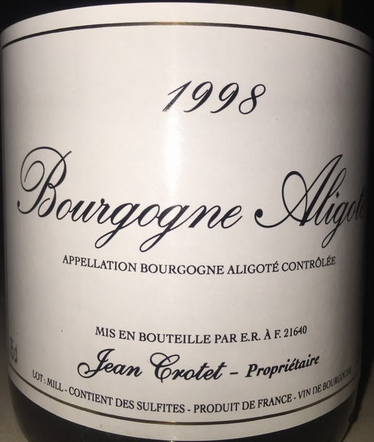 Bourgogne Aligote Jean Crotet 1998