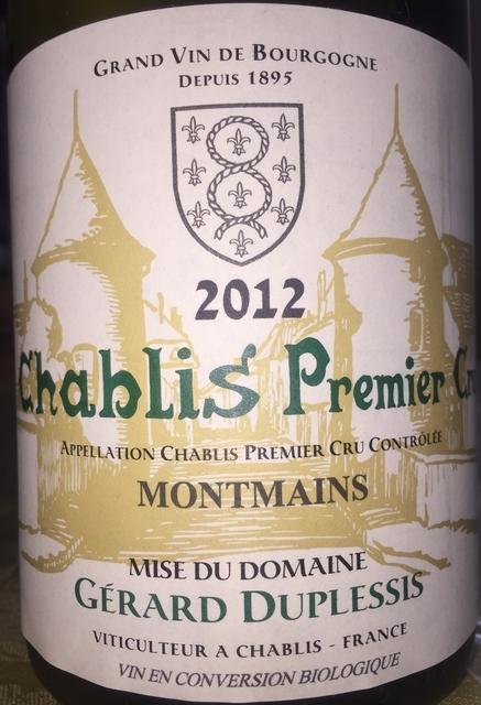 Chablis Premier Cru Montmains Gerard Duplessis 2012