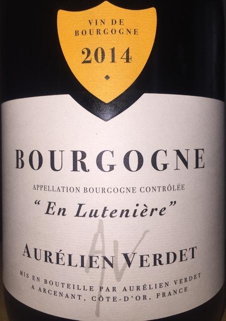 Bourgogne Rouge En Luteniere Aurelien Verdet 2014