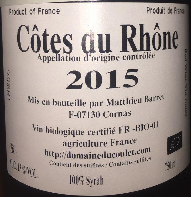 Petit Ours Cotes du Rhone Matthieu Barret 2015 par2