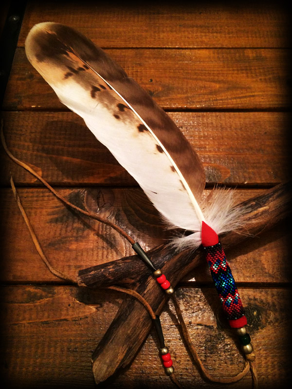 Beaded Hawk Feather ta2