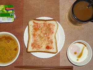 イチゴジャムトースト,トマトスープ,目玉焼き(S),ヨーグルト,コーヒー