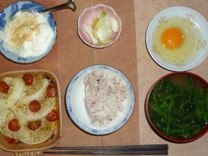 胚芽押麦入り五穀米,卵,玉葱とトマトのオーブン焼き,白菜の漬物,ほうれん草のおみそ汁,甜菜糖入りヨーグルト