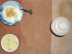 ダイエットプロテイン(いちごみるく味),マッシュポテト,甜菜糖入りヨーグルト