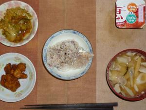 胚芽押麦入り五穀米,若鶏の唐揚げ×2,キャベツのにんにく醤油炒め,豚汁,ヨーグルト