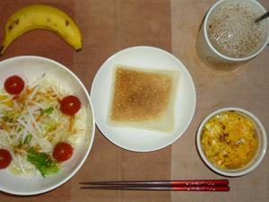 ランチパック(ピーナッツパター),サラダ(キャベツ、大根、レタス、トマト),フライドオニオン入りスクランブルエッグ(S),バナナ(S),コーヒー(スキムミルク)