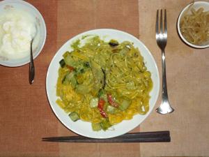 5種の野菜で仕立てたいろどりジェノバクリーム,もやしのニンニク醤油炒め,オリゴ糖入りヨーグルト