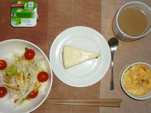 チーズケーキ,サラダ(キャベツ、大根、水菜、トマト),フライドオニオン入りスクランブルエッグ,ヨーグルト,コーヒー