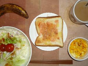 イチゴジャムトースト,サラダ(キャベツ、大根、レタス、トマト)おろし醤油・オリーブオイル,フライドオニオン入りスクランブルエッグ,バナナ,コーヒー