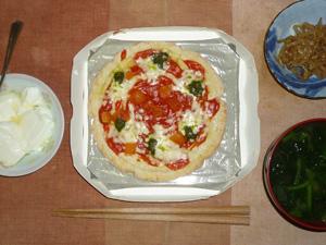 ピザマルゲリータ,もやしのわさび醤油和え,ほうれん草とワカメのおみそ汁,オリゴ糖入りヨーグルト