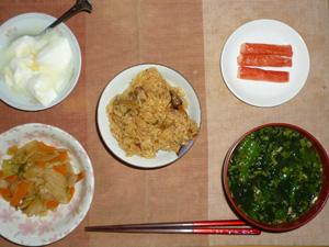 山菜おこわ(小),肉野菜炒め,カニカマ×3,ほうれん草と分葱のおみそ汁,オリゴ糖入りヨーグルト