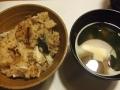 鯖の炊き込みご飯_豆腐とワカメの味噌汁
