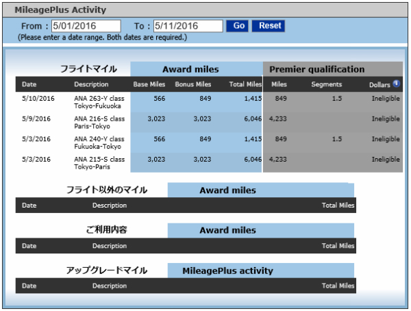 mileageplus activity 2016-05
