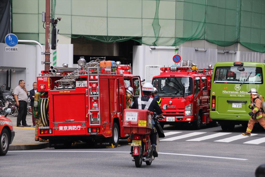 目黒駅に消防車が_3