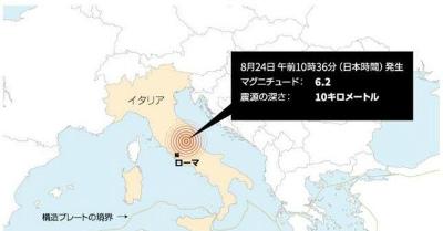 イタリア中部ノルチャで地震