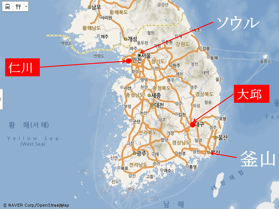 地図 韓国 テグ