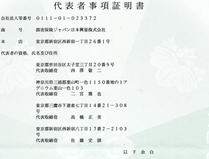 損保ジャパン日本興亜(株)代表者事項証明書1