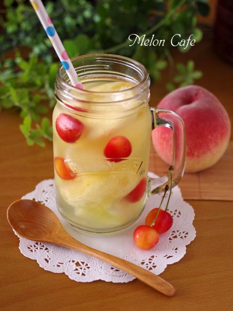 フルーツビネガーウォーター桃とさくらんぼとメロン