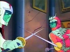 剣で戦うシャアとアムロ