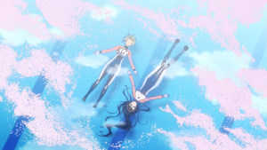プールの二人