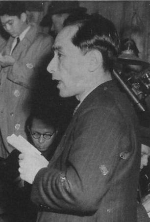 野坂参三理論の欠陥を認める所感を発表する伊藤律(1950年1月12日)
