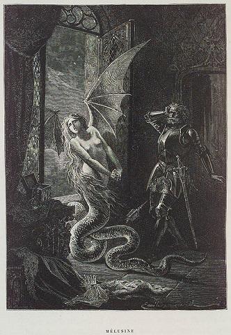 竜の翼を備えた姿で描かれたメリュジーヌ。