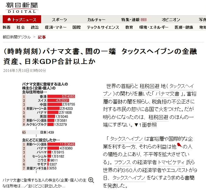 朝日新聞 パナマ