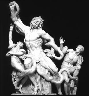 20世紀の修復以前の腕を伸ばした『ラオコーン像』