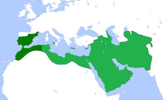 アッバース朝の版図(深緑はまもなく離反し、緑が850年以降の領土として留まる)