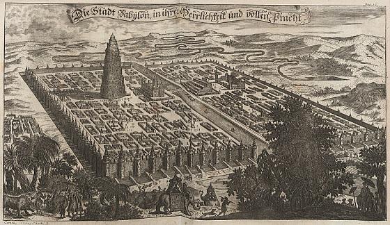 17世紀のヨーロッパ人が描いたバビロン想像図。左側にバベルの塔が描かれている