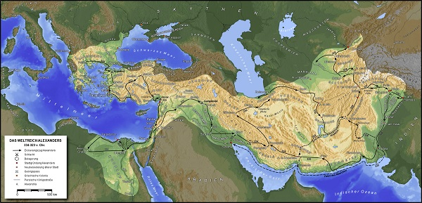「アレクサンドロス帝国」の最大領域