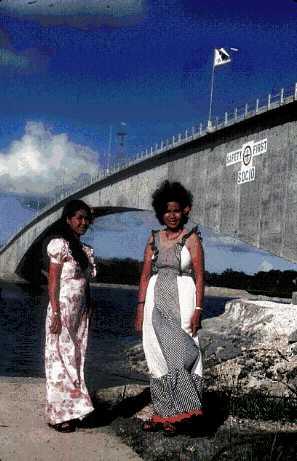 「安全第一」と書かれた橋とその上に翻る太極旗