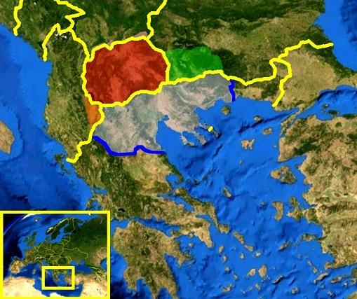 マケドニア。マケドニア共和国、ギリシャ、ブルガリア、アルバニア、セルビアにまたがっている。