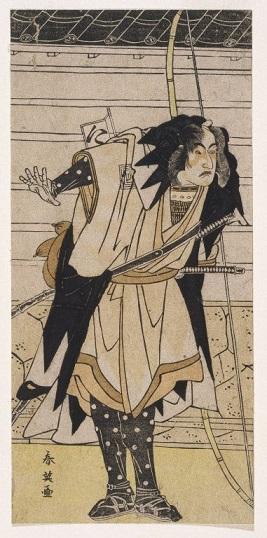三代目市川八百蔵扮する武林唯七(勝川春英画)