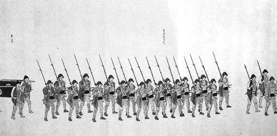 幕府軍(越後高田藩兵)行進の様子