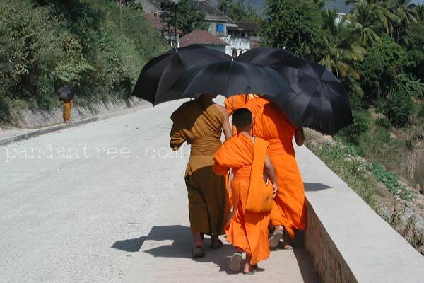 果てしない道程を歩くラオスの僧侶