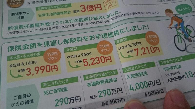 自転車保険の更新。大阪府は加入が義務なのです。