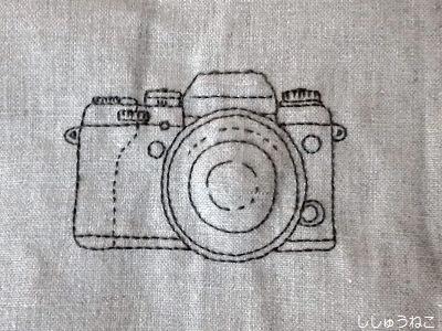 刺繍でカメラ