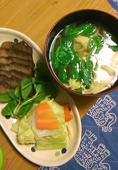 小松菜のお澄ましと、煮豚試食会
