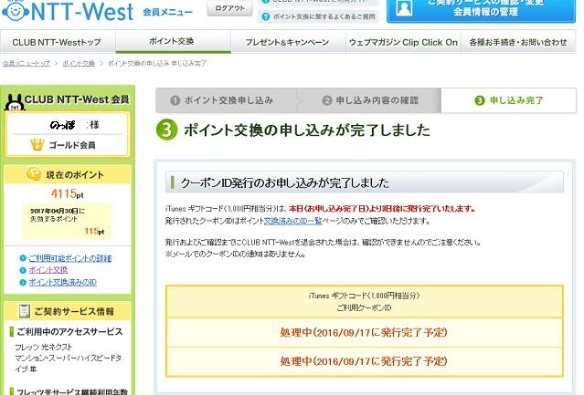 NTTウエストポイント使用