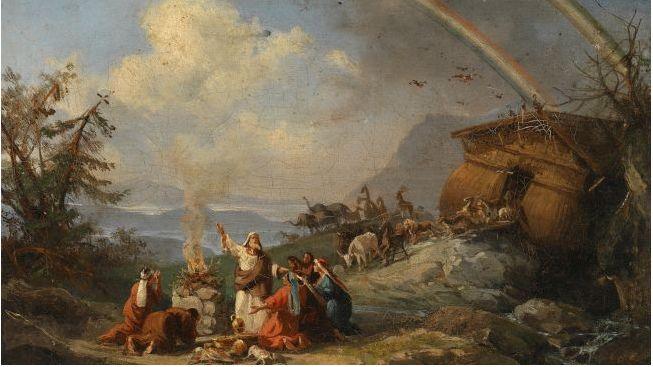 『箱舟を出た後のノアによる感謝の祈り』(1901年までの間に制作、ドメニコ・モレッリ(イタリア語版))